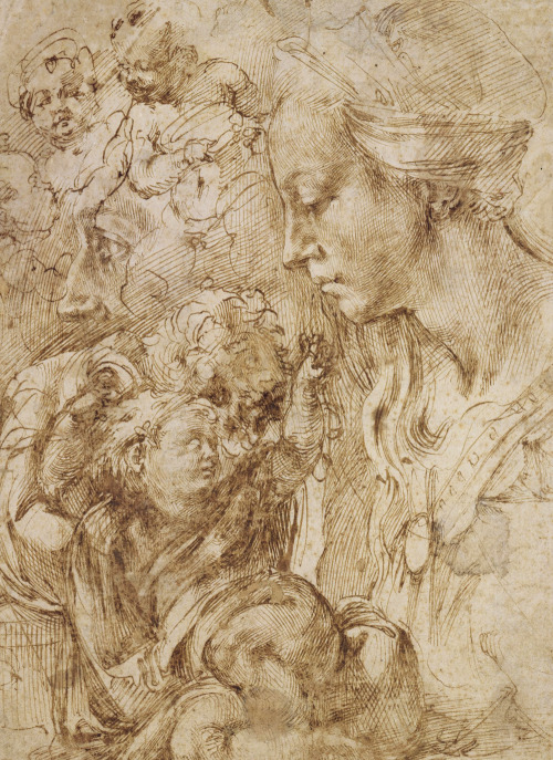 jaded-mandarin:  Michelangelo. Studies for a Holy Family, 1505.