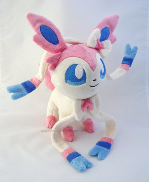 Sylveon! She's made out of minky fabric with machine embroidered eyes, nose, and mouth. She is for sale and I'm taking offers here: http://spacevoyager.deviantart.com/art/Sylveon-plush-for-sale-367794845