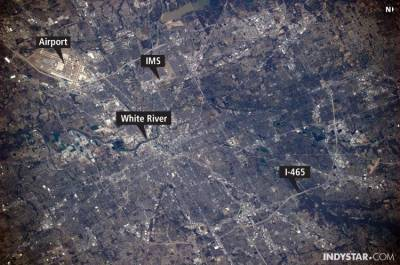 "Shot of Indianapolis from the International Space Station taken by Indy native Kevin Ford who became the station's commander in November. ""The image clearly shows Indianapolis International Airport, I-465 ringing Marion County, the Indianapolis Motor Speedway and the White River flowing through the heart of Indianapolis."""