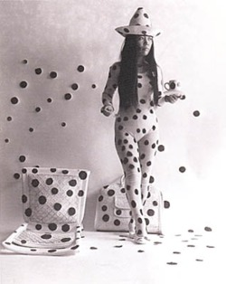 "theeradiantchild:  Artist: Yayoi Kusama   ""a polka-dot has the form of the sun, which is a symbol of the energy of the whole world and our living life, and also the form of the moon, which is calm. Round, soft, colorful, senseless and unknowing. Polka-dots become movement… Polka dots are a way to infinity ― Yayoi Kusama, Yayoi Kusama  Wonderful artist who Inspired me to be an Art therapist, Yayoi used her art to overcome her mental illness, through artistic expression she was able to deal with Hallucinations and issues she had with her mom.  She did not suppress and deny, she found an outlet, and overcame"