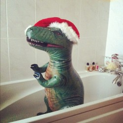 Timmy the Christmas tyrannosaur.