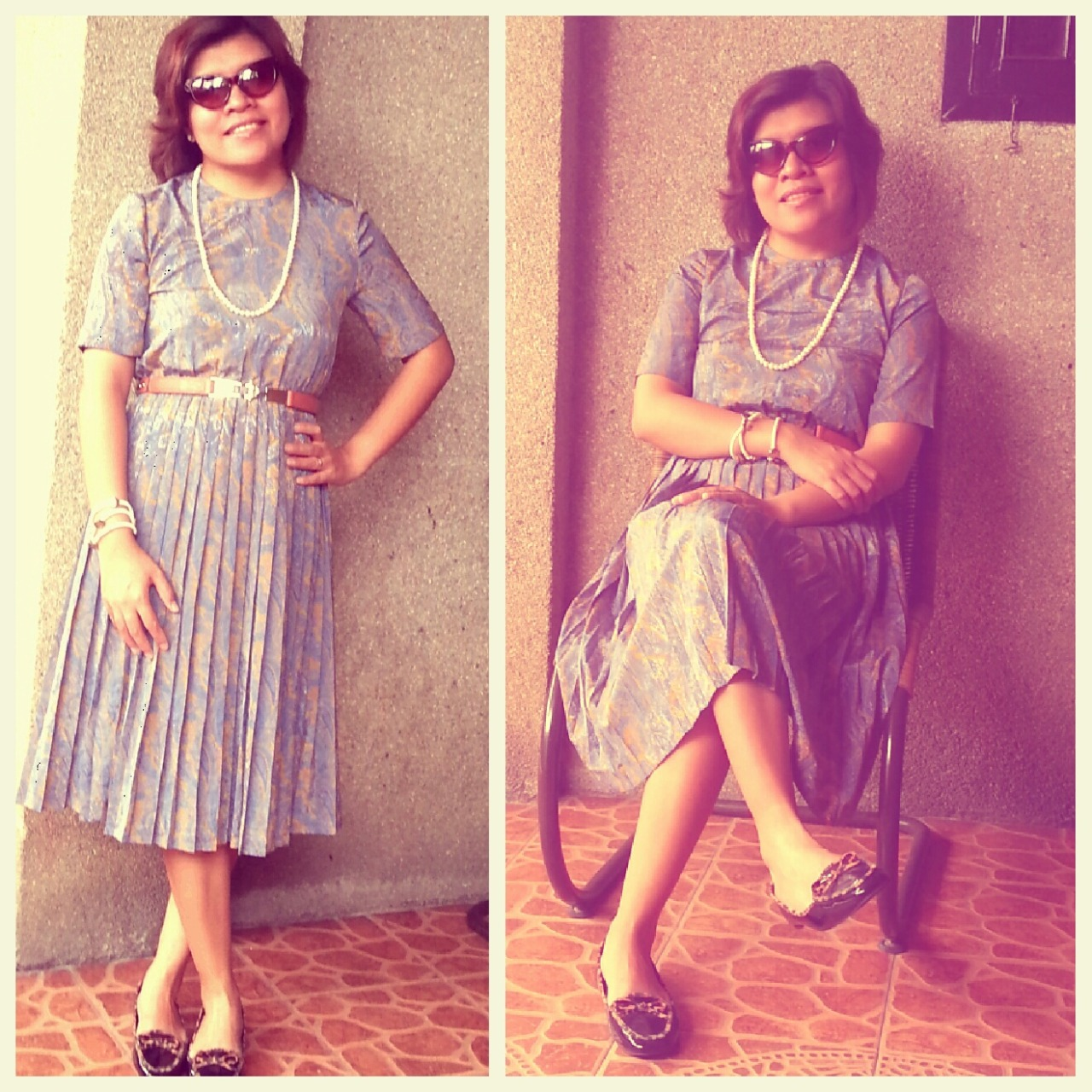 VINTAGE  Vintage dress + pearl necklace + cat's eye sunnies + black with animal print piping loafers