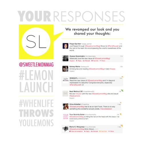 yoursororitysister:  sweetlemonmag:  We revamped, you spoke! Did your comment make it into our Social Media Round-Up?   So honored to be featured in the round-up :)
