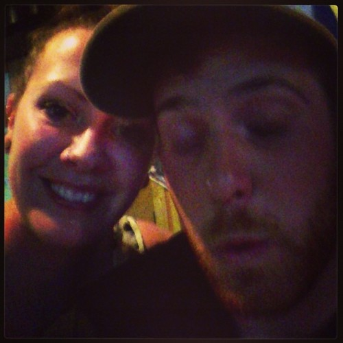 He can't keep his eyes open. Whoops!  (at Porky's Pub)