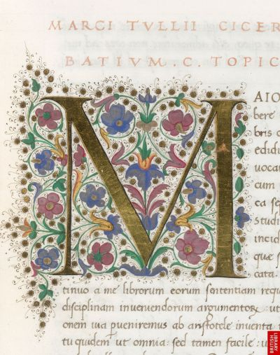 aleyma:  Illuminated initial from a copy of Boethius' Opera omnia, made in Florence, Italy, c.1475-85 (source).