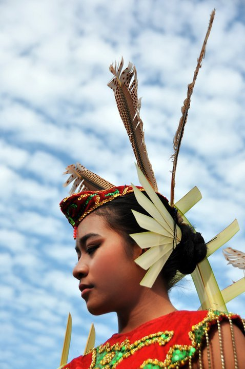 SUBMISSION: greenndyshe. Thank you. Dayak's Girl Headdress, Central Borneo, Indonesia.