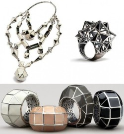 "http://www.nomad-chic.com/backbone.html BOTTEGA VENETA JEWELRY LIKE A SPINE ""The #jewelry has the dazzling disorienting effect of a house of mirrors- You have to look at them more than once to understand what you're looking at,"" explains Maier, who also experimented with gleaming silver embellishments on dresses for spring. ""From a distance they look powerful and a bit dangerous, but up close you realize they're delicate , intriguing , and quite complex."""