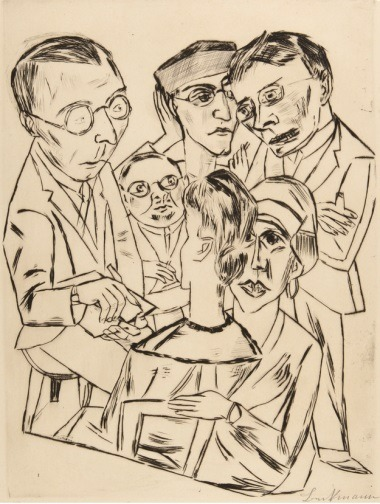 "Max Beckmann, The Draftsman in Society, 1922. Collection of the Princeton University Art Museum. (via Friday exhibition: ""1913: The Year of Modernism"" 