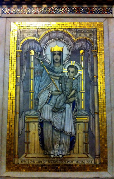 A mosaic of Our Lady of Walsingham in Westminster cathedral, London.