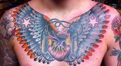Chest piece done by Ert DiRosa of Kaleidoscopeink in Springfield, MO.