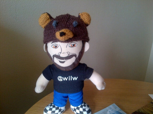 thefrogman:  jujyfruit0:  I knitted Lil Wil a Frogman Hat. After reading Wil's very funny collaboration with Frogman,  I thought it only fitting that miniature Wil should have one. He might also need a miniature Otis….  Lil Wil is looking snazzy.