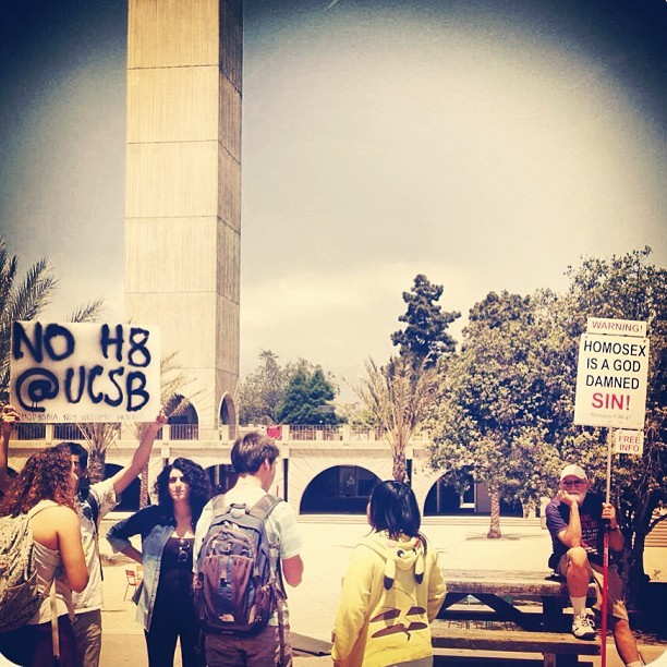 Just an average day fighting hate. #ucsb #youngfolks  (at University Center)