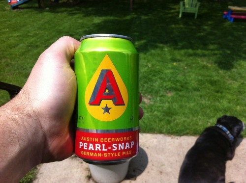 had an old friend on town this week and he brought be a couple of cans of austin beerworks pils.  very classic german style - lightly hopped & super crisp.    i just finished mowing the lawn and couldn't think of a better beverage.