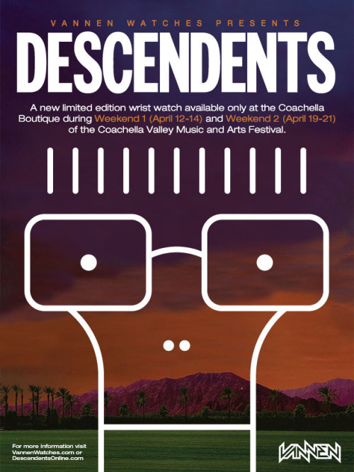 "Since the Descendents are playing Coachella this year we decided to create ""Coffee Time"", a limited edition Descendents watch available only at the Coachella boutique during Weekend 1 (April 12-14) and Weekend 2 (April 19-21) of the 2013 Coachella Music & Arts Festival.  Available for only $60 each, the Descendents ""Coffee Time"" watch features artwork by Chris Shary and is limited to only 150 pieces per weekend. Each box comes signed by Chris, and one lucky box contains an original Chris Shary drawing. Be sure to follow Vannen on Facebook and Twitter for updates leading up to the full reveal on April 8th."