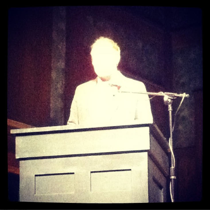 "lovelyarc:  Last night, at the Oregon Book Awards ceremony, I got to go up on stage because Joanna Klink, who announced the winners of the Poetry category, said my name and the name of the book of poems I wrote called Fjords vol. 1. I won the 2013 Oregon Book Award for Poetry! The judge was Mary Jo Bang. Here's a quick summary of what I remember saying once I got up there: Wow, this is so exciting. I have this fantasy of stepping over a chair when I win an award. So that is what I did. But my legs feel empty now so that wasn't graceful. And (to the guy in the front row), I'm sorry about stepping on your nice hat. I'm glad these clothes didn't turn out to be a bad omen (pointing to my jacket and tie and sweater). I wore them two years ago for when Scary, No Scary was nominated but didn't win. When I put the jacket on today I noticed that my old name tag that says Finalist on it was still in there so I pinned it on (pointing now to both name tags on my jacket). (At this point I realize how I'm just rambling and hamming it up and haven't said a single thing yet)(I forgot to say the joke I was going to say about thanking the person whose living room we were in (we were on a stage designed to look a little like a living room) and how I'm worried if those people would come home too early and find us in their living room and get mad)(Also I was going to take a picture from up on stage of everyone in the crowd and then look at it and say oh that guy in the 18th row has his eyes closed so let me try again because that is a good joke, but I forgot that too). I won on the second try so I'm doing better than Larry Colton (Larry Colton accepted the Lifetime Legacy award earlier and said he never won an Oregon Book Award)(I saw him laugh so that was a relief). Anyway, that poem (Joanna read a poem to the audience from Fjords called ""Building of Unseen Cats"") was a true story. My building on 37th and Belmont almost burned down a while back. These poems were written entirely in Oregon, after I moved here in 2008, the first book of mine in which I can claim that, so I'm so proud that it won this particular award. Many of the poems are transcribed from the dreams of many of my friends in Portland, so I'd like to thank them, especially Emily Kendal Frey, who helped usher those dreams and these particular poems into existence. Also, all the poetry books on this year's finalist list were published by independent presses, and most of them small presses. I'm so happy to be a part of that list, to represent small press, and to be part of the acknowledgement that small press is alive and well. And thank you to Mary Jo Bang and Oregon Literary Arts. That's pretty much what I said. I said it all inside a bright light. And then I walked back into a room where I imagined the dead go, and that I had just died, and everybody was congratulating me on such a good death."