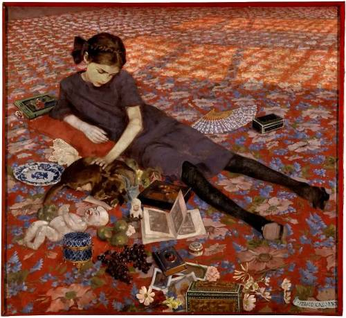zombienormal:  Girl on a Red Carpet, Felice Casorati (1883-1963), 1912. Via.