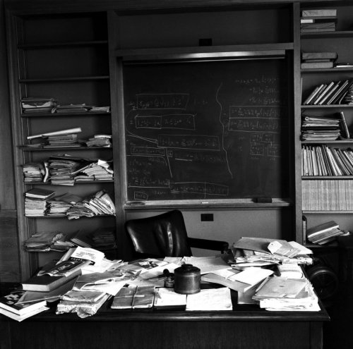 Einstein's study shortly after his death. Princeton, New Jersey.