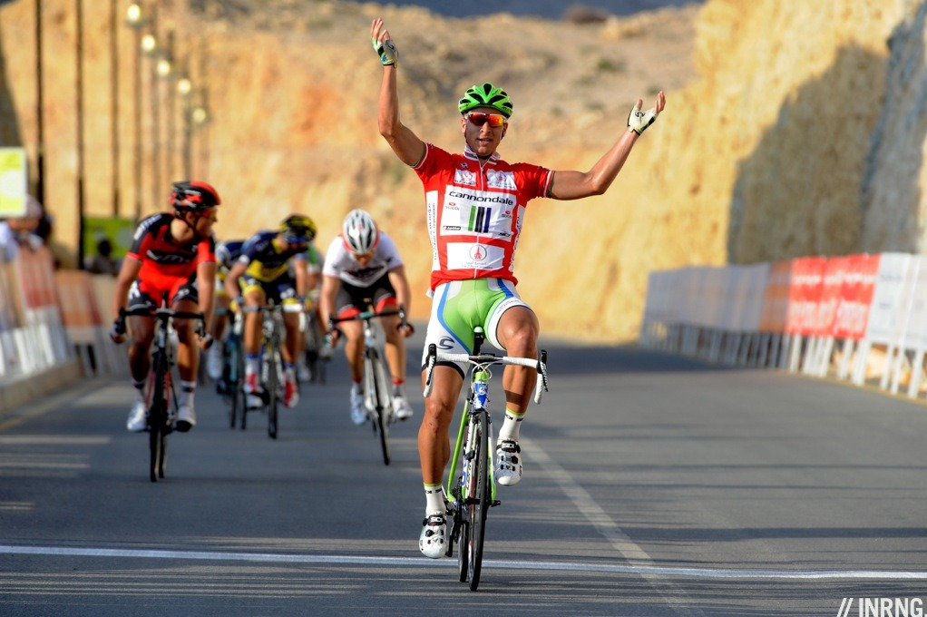 inrng:  Peter Sagan wins Stage 3 of the Tour of Oman. He won at this spot last year and had the race leader's red jersey on his shoulders. Despite such obvious form and suitability he still finished several lengths ahead of Greg Van Avermaet (BMC Racing) and Tony Gallopin (Radioshack).   This guy is unstoppable.