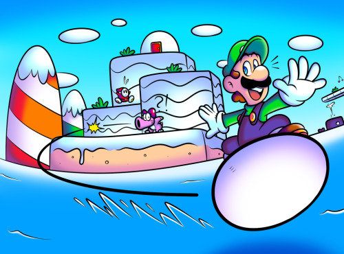 poisonmushroom-org:  suppermariobroth:  SMB2USA - Egg Surfing Luigi by =Captain-Regenold Artist's rendition of this moment.  Luigi owns this level like no one else can. The above statement is based on pure fact, for the record. Princess ain't got nothin' on ol' Green 'Stache.
