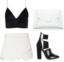 doll4rs:   monochrome by dollars featuring zara shorts T By Alexander Wang plunge bra / Zara  shorts / Alexander Wang suede ankle booties / Proenza Schouler leather handbag