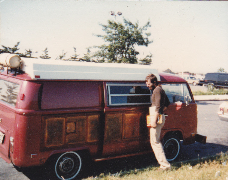 van-life:  Model: VW Bus 1970 (with Copper plated doors!) Location: Upstate New York (Summer 1974) Photo: Greg Mills - www.saltroots.com