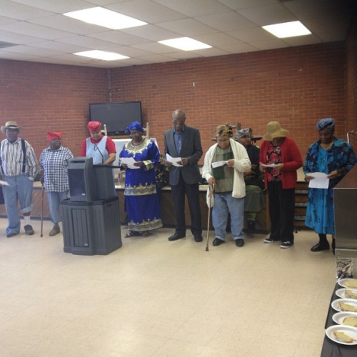 Senior citizens from Tougaloo Community Center performing play on Harriet Tubman. Wonderful!