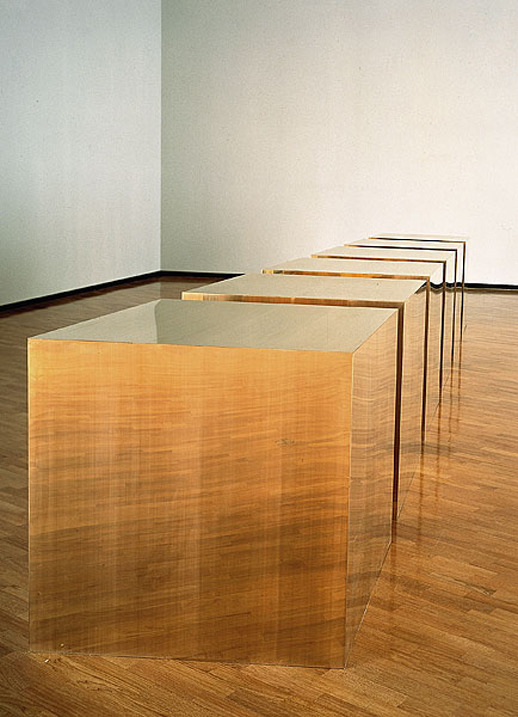 museumuesum:  Donald Judd Six Boxes, 1974 brass, 101.6 x 101.6 x 101.6 cm each, 101.6 x 736.6 x 101.6 cm installed