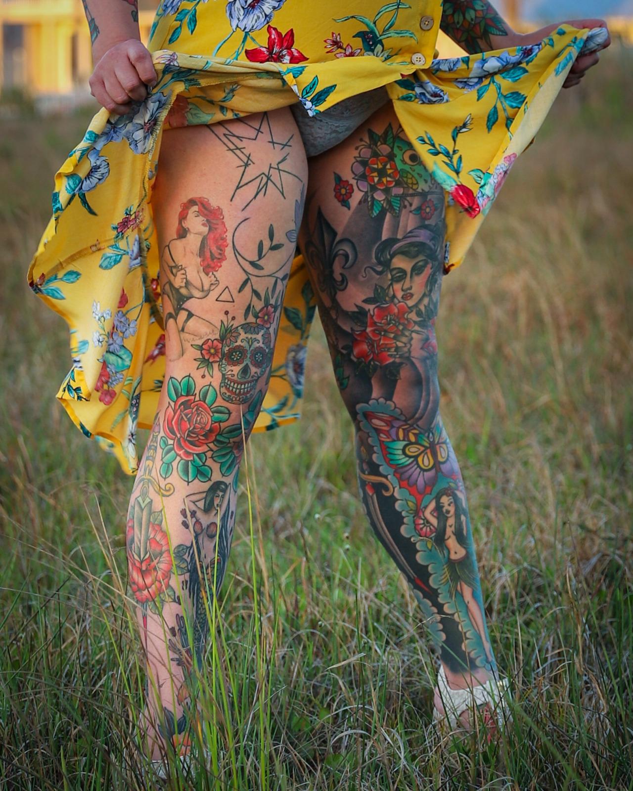 Tattooed Legs #tattooed legs#tattooedlegs#leg tattoos#legtattoos#inked legs#inkedlegs#inked up#tattooed#traditional tattoos#tattoos#heavily tatttooed #heavily tattooed legs #shocking tattoos
