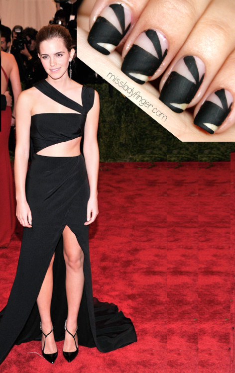 MANICURE MUSE: Emma Watson in Prabal Gurung at the Met Gala '13 Another stunner from the evening. Edgy and sexy all the way down to your Ladyfingers. Learn how.