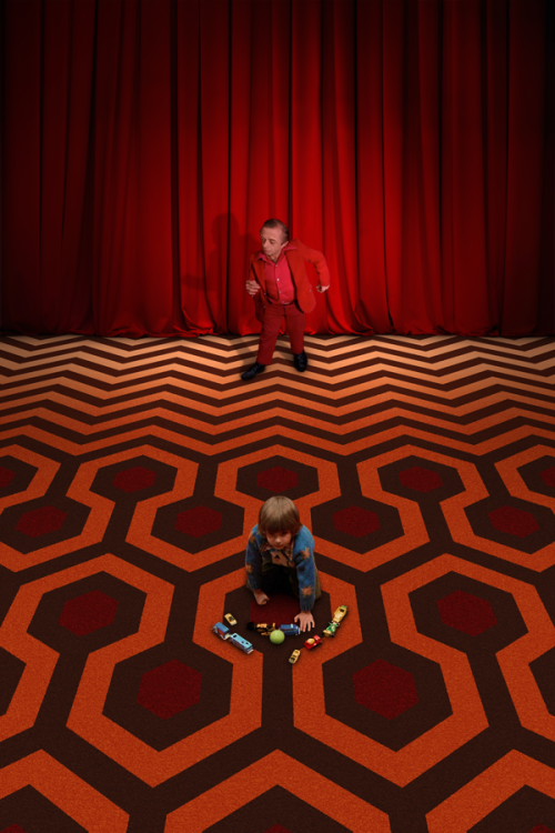the-overlook-hotel:  The iconic carpeting of The Shining and Twin Peaks collide. Artist: Jared Lyon (Image courtesy Welcome to Twin Peaks)  haha this is really well done