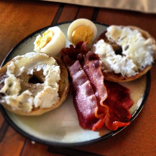 #breakfast #bacon #egg #bagel #andabanana
