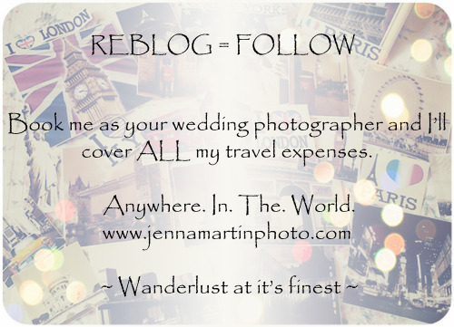 jennamartinphotography:  Help me spread the word!  Reblog for 3 reasons: 1.) You get a new follower, 2.) This is a good deal for anyone who's planning a wedding, and 3.) Everyone should travel. Help a girl out.  www.thegoodlifeoncampus.com