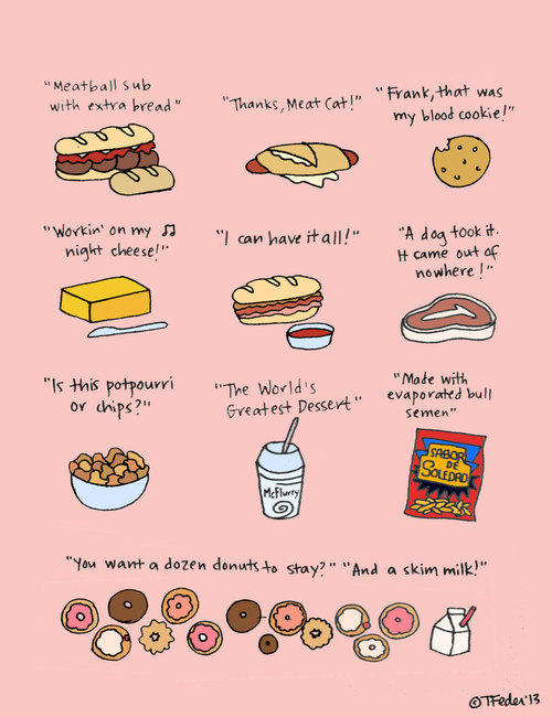 thejamfsarecoming:  Foods of 30 Rock Print HandIllustrated by roaringsoftly on Etsy on @weheartit.com - http://whrt.it/15ZNeHt