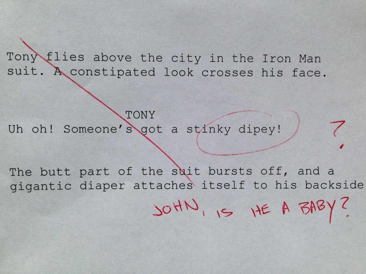 shitroughdrafts:  Iron Man, directed by Jon Favreau. 2008.