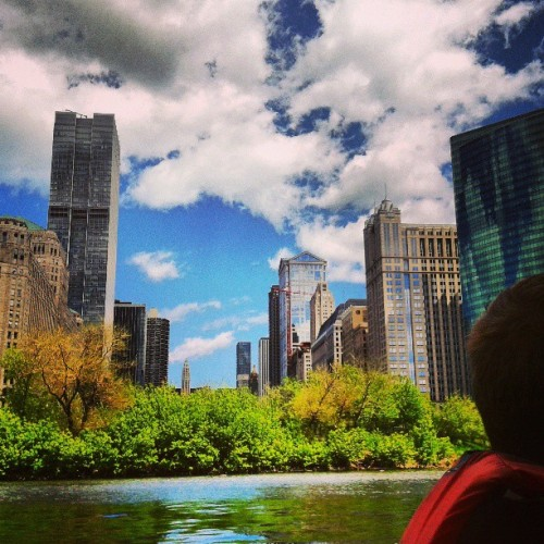 I guess this city is pretty (at Wolf Point Chicago River)