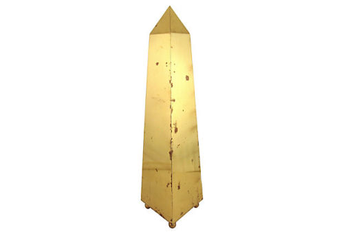 "17"" tall brass obelisk with spherical applied feet and distressed surface. Sold by Ruby + George on One Kings Lane Vintage and Market Finds"