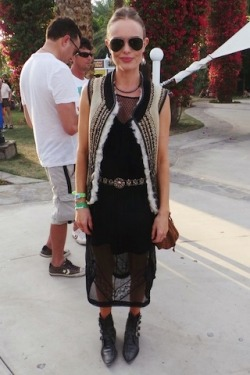 Kate Bosworth at Coachella 2013 (Weekend 1), wearing a TOPSHOP vest. Looks like she's wearing pieces from her upcoming collaboration with TOPSHOP! Source: ELLE