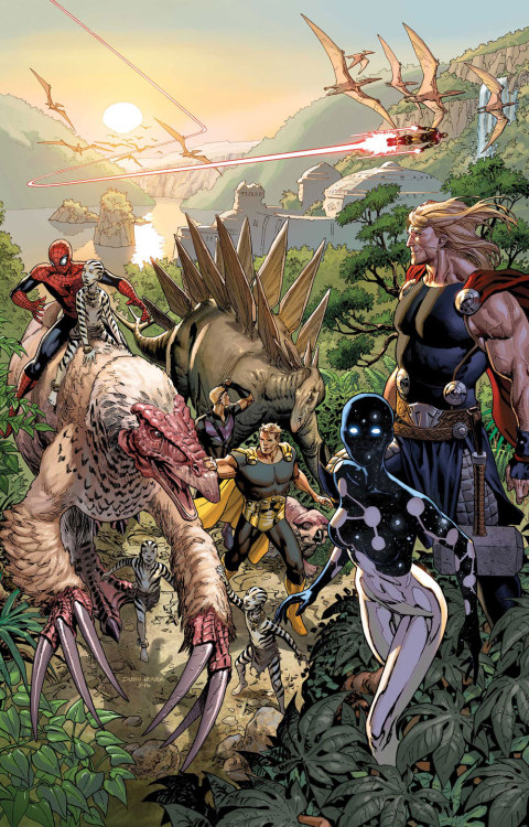 "jurassiraptor:  Avengers #12: ""Children of the Sun""by Jonathan Hickman & Nick Spencer / Mike Deodata / Cover by Dustin Weaver"