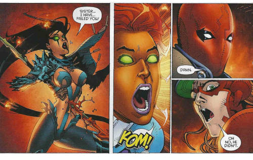 starfiremusings:   Red Hood and the Outlaws #13  Everyone reacts to battlefield injuries differently. Blackfire: Sister…I have…failed you! Starfire: KOM!  Jason: Damn. Roy: Oh no, he didn't.
