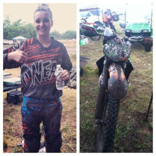 Me and the bike after winning our first gncc race. Suppose to be a sand race and I came out covered in mud. #ktm #gncc #mud #705
