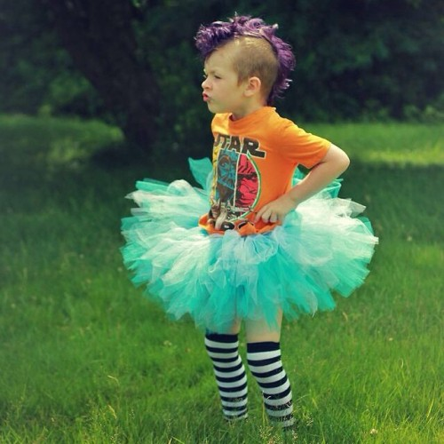 causeallidoisdance:  piecesofamoonchyld:  Recently Kaige told us he wishes he could be both a boy and a girl because he likes playing princesses as much as ninjas and he doesn't want to get made fun of. So we bought him a tutu and gave him a makeover. Meet the new and improved Kaige. If you have a problem with it please keep it to yourself and kindly stay out of his life. Which would be a shame because as you can see he's freakin' awesome! #letmebeme #mumblr #stopbullying  WHAT A FUCKING RAD KID WITH RAD HAIR