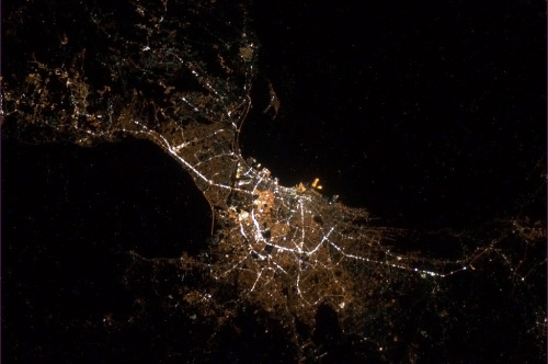 At long last - Manila, capital of the Philippines, delicately shining in the night.