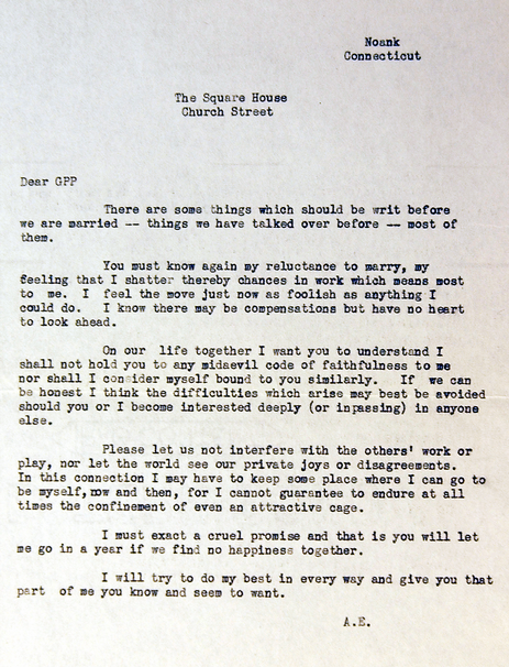"Take a look at Amelia Earhart's prenuptial agreement. She was very forward thinking for her time and I am very impressed that she knew exactly what she wanted. My partner and I are thinking about using the last few lines (minus a few changes) for our marriage ceremony starting with ""Please let us not interfere with the other's work, or play…"" and ending with ""I must exact a cruel promise and that is you will let me go in a year if we find no happiness together."" What do you think?"