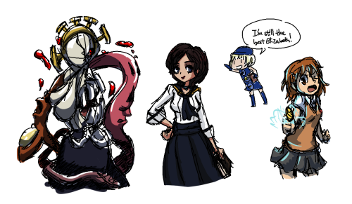 Double (Skullgirls), Elizabeth (Bioshock Infinite), Elizabeth (Persona 3), Misaka Mikoto (A Certain Scientific Railgun) Friend told me to draw Bioshock Liz; I don't even Bioshock but that chick looks like the kind of character who gets death flagged and you have to go save her or something.