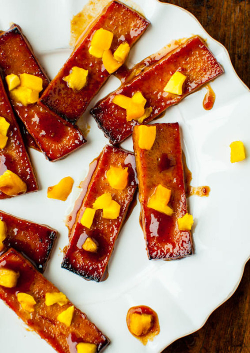 Barbeque Tofu with Pineapple and Mango by Averie Cooks