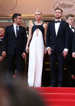 suicideblonde:  Oscar Isaac, Carey Mulligan (in Vionnet) and Justin Timberlake at the Cannes Film Festival premiere of Inside Llewyn Davis. May 19th
