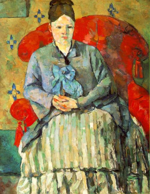 chantducygne:  Madame Cézanne dans un feuteuil rouge (1877) Paul Cézanne (1839-1906)  Now displayed at the Budapest Museum of Fine Arts' huge exhibition, 'Cézanne and the Past'…