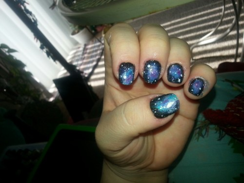 My very first attempt at galaxy nails