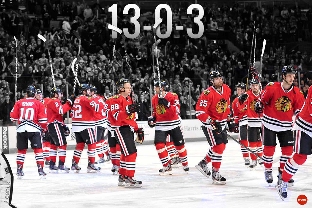 WOW: The Chicago Blackhawks have 16 straight games with at least one point, matching the NHL record to start a season. Here's more.