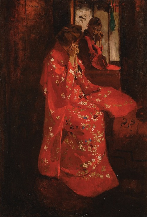 slowlyeden:  George Hendrik Breitner (1857–1923), Meisje in rode kimono voor de spiegel (Girl in red kimono before mirror), via